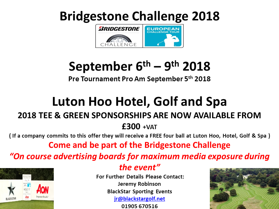 Tee & Green Sponsorship Packages now available at 2018 Bridgestone Challenge